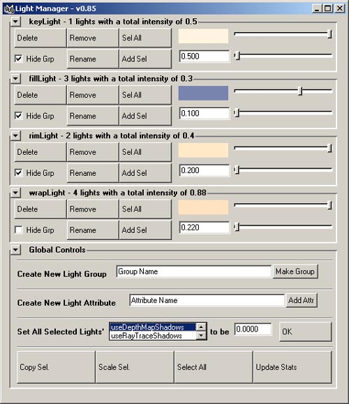 default view of the GUI